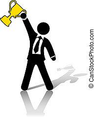 businessman celebrates business success trophy award - A...