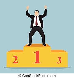 Businessman celebrates on Winning Podium