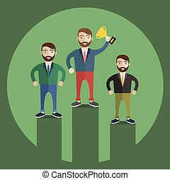 Businessman celebrates on Winning Podium. Great illustration of Retro styled Businessman proudly standing on the winners podium next to his rivals with his trophy