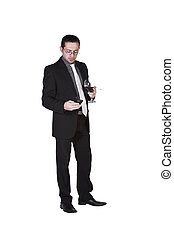 Businessman celebrating with a glass of drink and a smoke -...