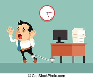 Businessman chained to the desk
