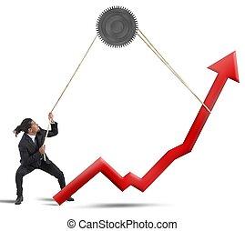 Businessman change statistics