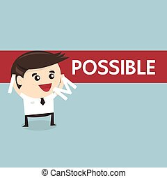 Businessman changing the word impossible into possible, success concept, flat design