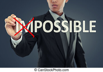 Businessman changing word impossible into possible on...