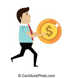 businessman character avatar with money icon