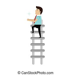 businessman character avatar with stair icon