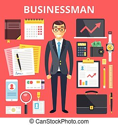 Businessman character, business set