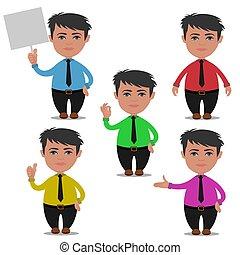 businessman character, cartoon, vector illustration