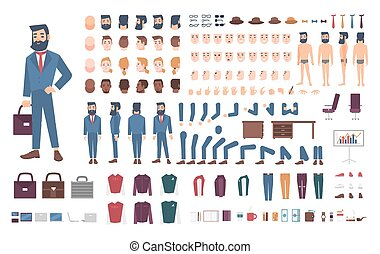 Businessman character constructor. Male clerk creation set. Different postures, hairstyle, face, legs, hands, accessories, clothes collection. cartoon illustration. Guy, front, side, back view.
