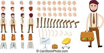 Businessman Character Creation Set. Cartoon Design