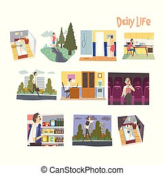 Businessman Character Daily Routine Set, Man Waking Up, Running, Having Breakfast, Going to the Work, Shopping Vector Illustration