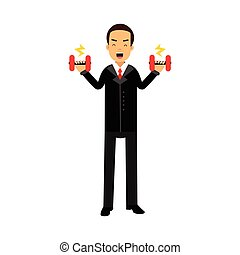 Businessman character easily lifting two dumbbells, business challenge and success vector Illustration