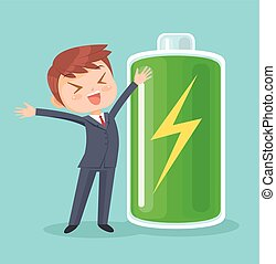 Businessman character full of energy. Vector flat cartoon...