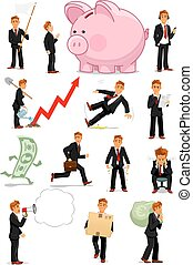 Businessman character in different situations set