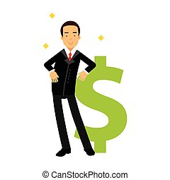 Businessman character leaning on a giant dollar sign,...