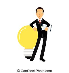 Businessman character leaning on a giant light bulb, business Idea vector Illustration