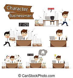 Businessman character on office worker set vector illustration