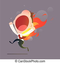 Businessman character running with back on fire against gray...