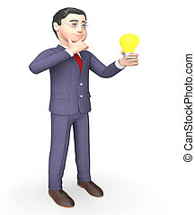 Businessman Character Shows Power Source And Lightbulb 3d Rendering