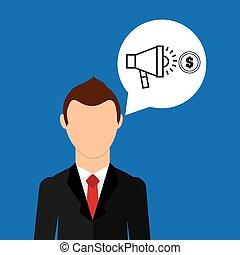 businessman character speaker money market