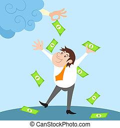 Businessman character under money rain