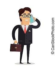 Businessman Character Vector Illustration in Flat Design