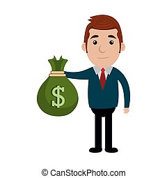 businessman character with bag money icon