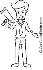 Businessman character with hand draw