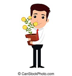businessman character with money plant icon
