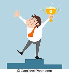 Businessman character won trophy - Happy businessman...