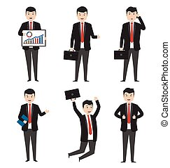 Businessman characters in variety of situations