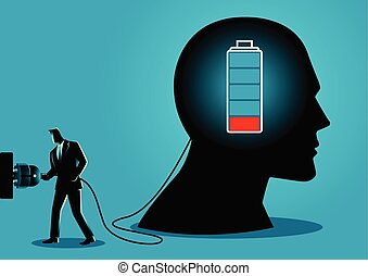 Businessman charging a brain