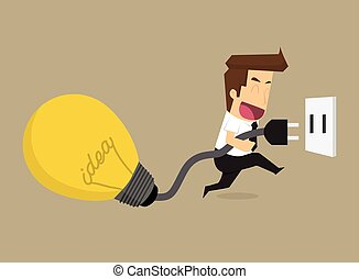 businessman chart bulb idea, increase energy of thought