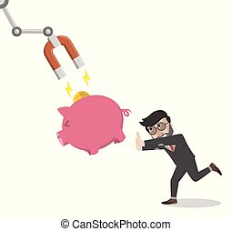 businessman chase piggy put with magnet