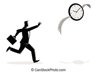 Businessman chasing a flying clock - Business concept vector...