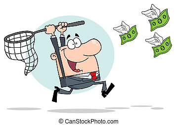 White Businessman Chasing Flying Money With A Net Over A Blue Circle