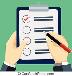 Businessman checked list-Vector Flat Design