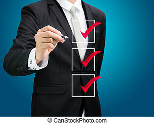 businessman checking mark checklist marker Isolated