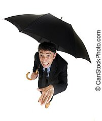 Businessman checking on the rain