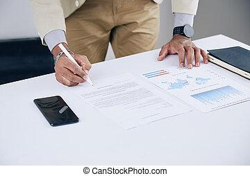 Businessman checking report