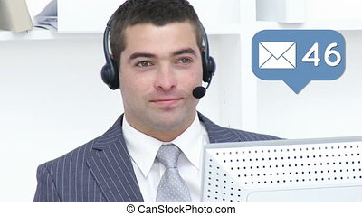 Businessman cheerfully talking to a client