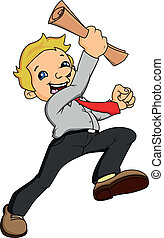 businessman cheering - young businessman cheering vector...