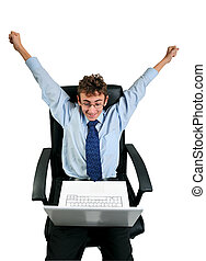 Businessman cheering - Businessman with laptop cheering with...