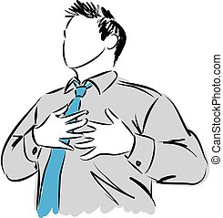 businessman chest pain gesture illustration