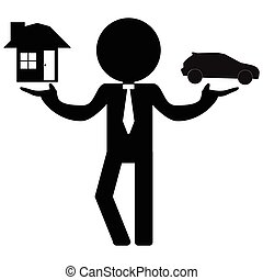 businessman choose home or car