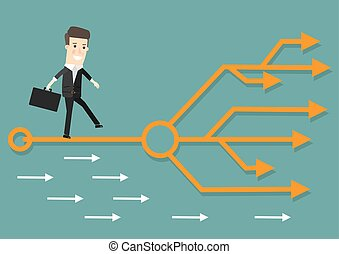 Businessman chooses the right path. Success, career. Business concept cartoon illustration.