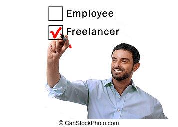 businessman choosing freelancer to employee at formular...