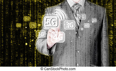 Businessman choosing network connection.