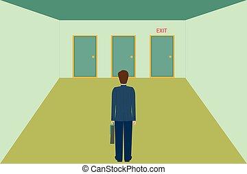 Businessman choosing the exit door.