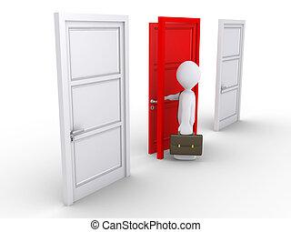 Businessman choosing the red door